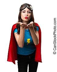 enviando, menina, superhero, beijo, bonito