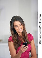 enviando, mensagem, mulher, texto