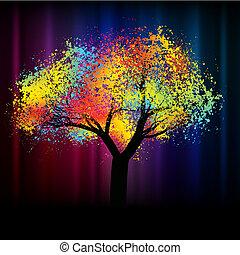 .eps, coloridos, espaço, abstratos, árvore., 8, cópia