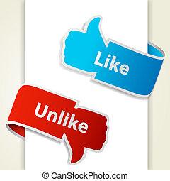 eps10, semelhante, unlike, blogs, cima, ilustração, baixo, vetorial, icons., sinais, polegar, websites.