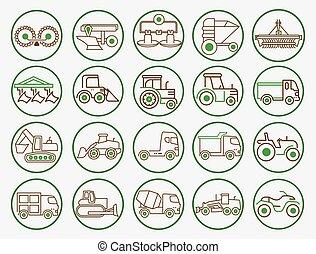 equipamento, ícone, maquinaria, agricultura