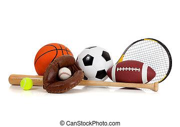 equipamento, branca, sortido, esportes