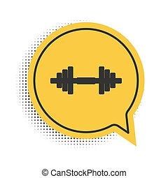 equipamento, bumbbell., experiência., vetorial, exercício, ícone, condicão física, ginásio, fala, esportes, dumbbell, ícone, levantamento, pretas, amarela, isolado, símbolo., símbolo, barbell, bolha, músculo, branca