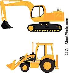 equipamento, construção, escavador