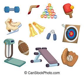 equipamento, esportes, caricatura, ícones
