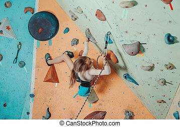 equipamento, ginásio, segurança, menina, escalando