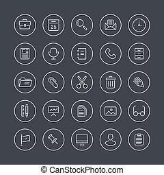 equipamento, linha, apartamento, ícones escritório