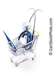 equipamento, médico, carro shopping, materiais