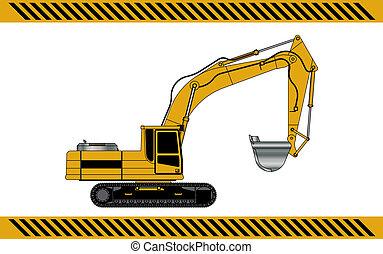 equipamento, maquinaria construção, escavador