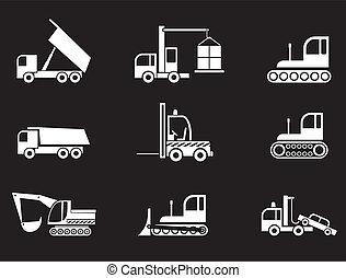 equipamento pesado, vetorial, -, ícones