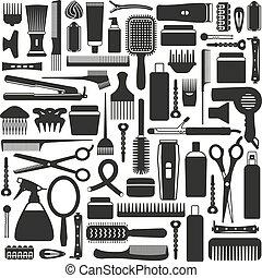 equipamento, set., hairdressing, ícone