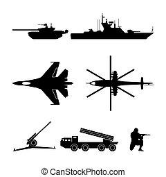 equipamento, silhuetas, pretas, militar