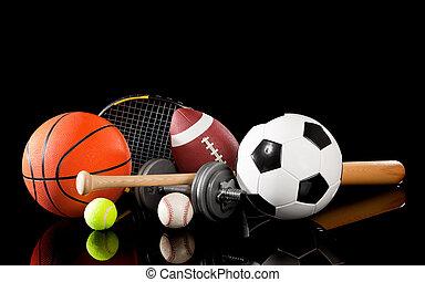 equipamento, sortido, pretas, esportes