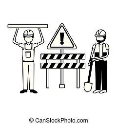 equipamento, trabalhador construção