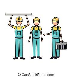 equipamento, trabalhadores, construção