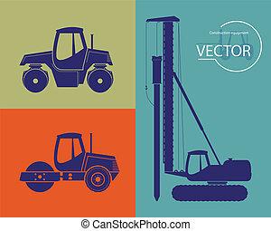 equipar, silhuetas, construção