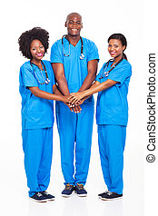 equipe, africano, médico