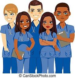 equipe, enfermeira, diversidade