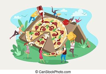 equipe, faminto, alimento, concept., rapidamente, pizza, amizade