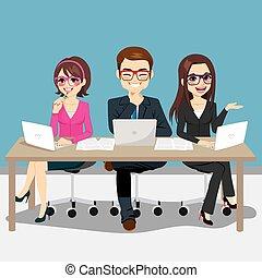 equipe, negócio, sentando