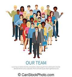 equipe, pessoas, profissional, apartamento, cartaz, torcida