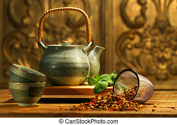 erva, asiático, chá