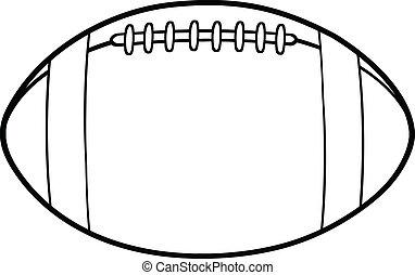 esboçado, futebol, americano, bola