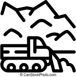 esboço, ícone, vetorial, neve, ilustração, caminhão, soprador