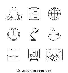 esboço, ícones negócio
