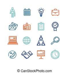 esboço, ícones negócio, set., vetorial, coloridos