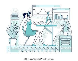 esboço, apoio, simples, empregado, experiência., companhia, estilo, desenho, headset, vetorial, apartamento, cliente, silueta, operador, centro, illustration., trabalhador, personagem, chamada, vendedor, telesales, branca