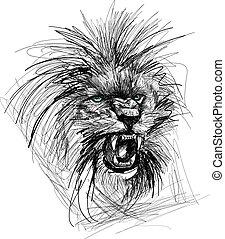 esboço, cabeça, leão