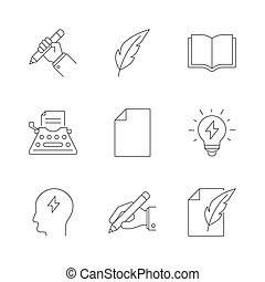 esboço, copywriting, ícones