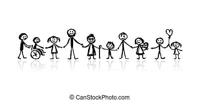 esboço, desenho, seu, família, junto