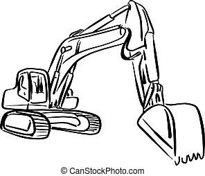 esboço, enxada, esboço, escavador, doodle, linhas, isolado, ilustração, carregador, vetorial, experiência preta, frente, desenhado, branca, mão