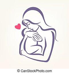 esboço, esboçado, símbolo, stylized, vetorial, mãe, bebê