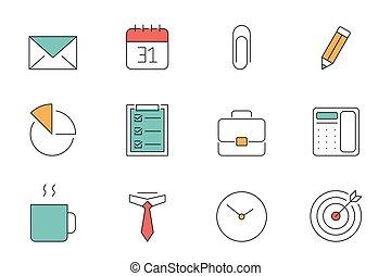 esboço, escritório, ícones negócio