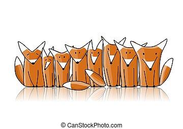 esboço, família, desenho, seu, raposas