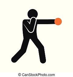 esboço, figura, simples, símbolo, boxe, soco, ilustração, vetorial, desporto