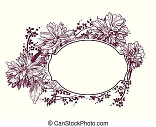 esboço, flor, quadro, crisântemo, vitoriano, vetorial, fundo