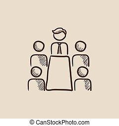 esboço, icon., reunião, escritório, negócio