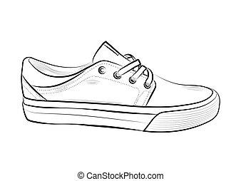 esboço, illustration., women., sapatos, homens, mão, vetorial, sneakers, desgaste, desenhado, desporto, summer., estoque