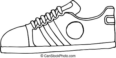 esboço, illustration., women., sapatos, homens, vetorial, sneakers, desgaste, desporto, summer., estoque