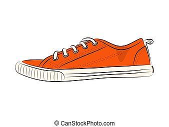 esboço, illustration., women., sapatos, vetorial, sneakers, desgaste, desporto, summer., estoque