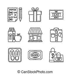 esboço, jogo, shopping, ícones, estilo, vetorial