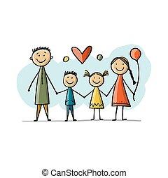 esboço, junto, feliz, seu, desenho, família