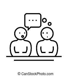 esboço, linha, vetorial, sinal, comunicação, ilustração, linear, símbolo., conceito, ícone
