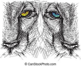 esboço, mão, olhar, leão, câmera, desenhado, atentamente
