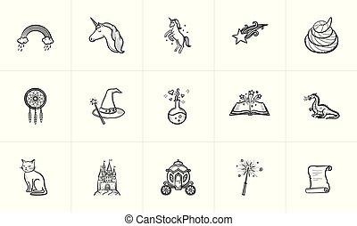 esboço, magia, fairytale, tema, set., ícone