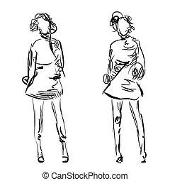 esboço, moda, meninas